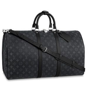 Louis Vuitton Black Eclipse Keepall 55 Duffle Bag